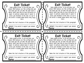 Exit Tickets: Text Structure