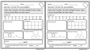 Exit Tickets- Word Problems 1st Grade