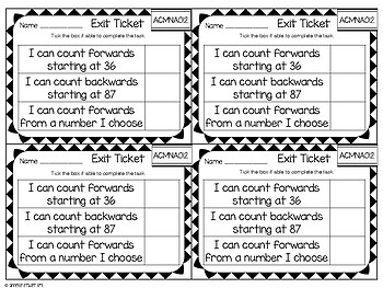 Exit Tickets Year 1 - Australian Math