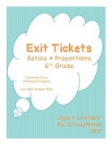 Exit Tickets for 6th Grade Math- Ratios and Proportional R