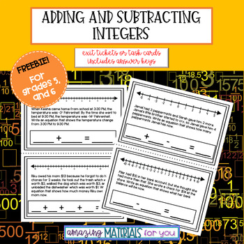 Exit Tickets for Adding and Subtracting Integers