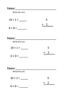 Exit Tickets for Addition Facts to 12