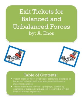 Exit Tickets for Balanced & Unbalanced Forces