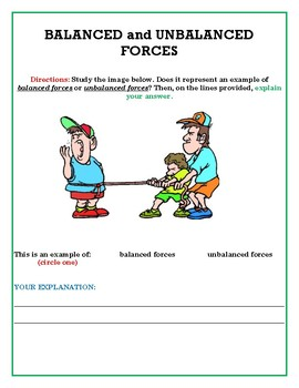 exit tickets for balanced unbalanced forces by arlene enos tpt