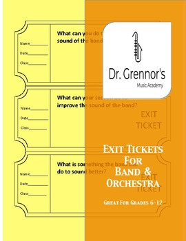 Editable Exit Tickets for Band & Orchestra