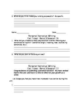 Exit Tickets for Calkins Narrative Unit Bend 3