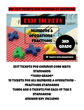 Exit Tickets for Common Core Math Standards - Fractions