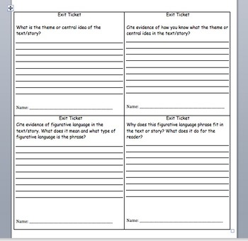 Exit Tickets for ELA
