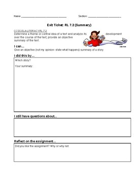 Exit Tickets for Each Common Core Reading Literature Standard 7th Grade