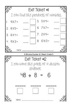 Exit Tickets for Grade 4 Math