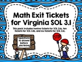 Exit Tickets for Math SOL 3.1