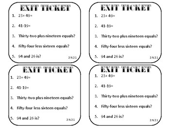 Exit Tickets for Mixed Double Digit Addition And Subtraction