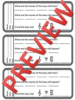 Music Exit Tickets BASS CLEF
