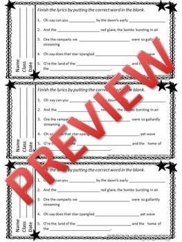 Music Exit Tickets STAR-SPANGLED BANNER