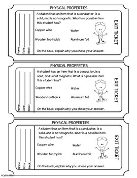 Exit Tickets for Physical Properties