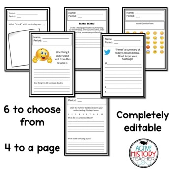 Exit Tickets - Fully Editable - including Emoji's