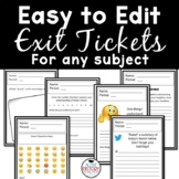 Exit Tickets Fully EDITABLE including Emoji's