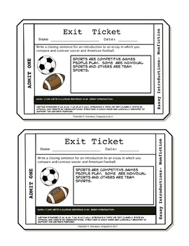 Exit Tickets for Writing Introductions to Nonfiction Essays