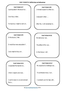 Reflection Exit Tickets for Learning, Behaviour and Groupwork