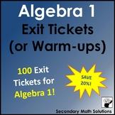 Exit Tickets (or Warm-ups) Bundle for Algebra 1