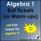 Exit Tickets (or Warm-ups) Bundle for Algebra 1