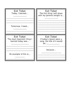 Exit Tickets--Summarization Activity