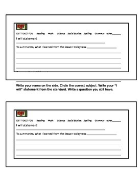 Exit ticket for any subject