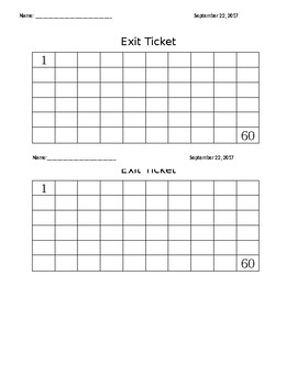 Exit ticket numbers 1 to 60