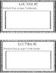 Exit tickets: Things/objects in the past vs present