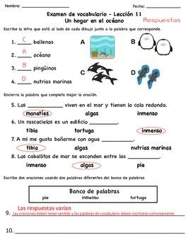 Exámenes de vocabulario de la serie Senderos Estándares Comunes (Unidad 3)