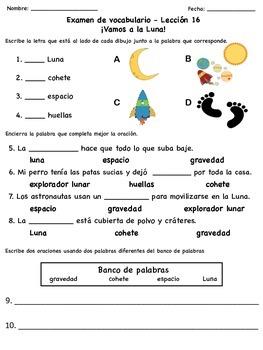 Exámenes de vocabulario de la serie Senderos Estándares Comunes (Unidad 4)