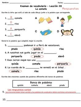 Exámenes de vocabulario de la serie Senderos Estándares Comunes (Unidad 6)