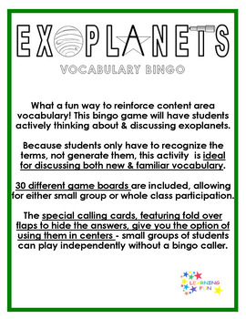 Exoplanets Vocabulary Bingo