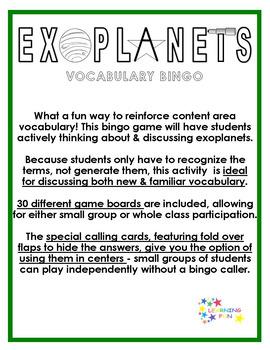 Exoplanets Vocabulary Bingo