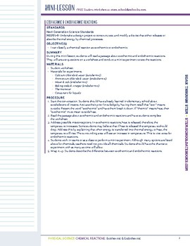 Exothermic & Endothermic - STEM Lesson Plan With Journal page