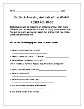 Exotic & Amazing Animals of the World! Research Project