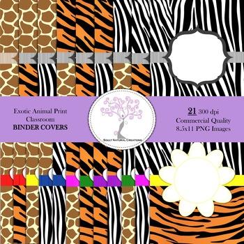 Exotic Animal Print Classroom BINDER COVERS