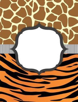 Exotic Animal Print Classroom BINDER COVERS