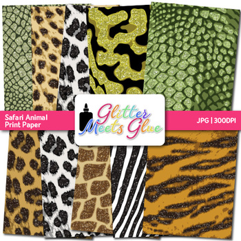 Exotic Jungle & Safari Animal Print Paper {Scrapbook Backgrounds for Task Cards}