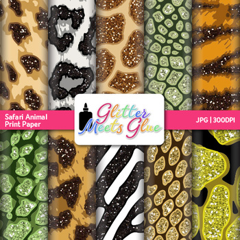 Jungle & Safari Animal Print Scrapbook Paper Backgrounds {Glitter Meets Glue}