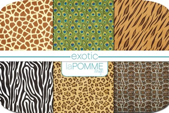 Exotic Animal Prints Patterned Digital Paper Pack