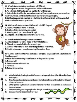 Exotic Animals as Pets Informational Text- Debate Reading Comprehension