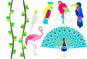 Exotic Birds Clipart by Poppydreamz
