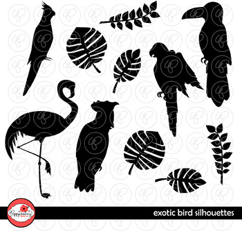 Exotic Birds Silhouette Clipart by Poppydreamz