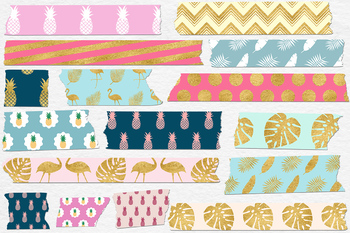 Exotic Washi Tape Clipart, Tropical Patterns, Palm Leaves, Pineapple, Flamingo