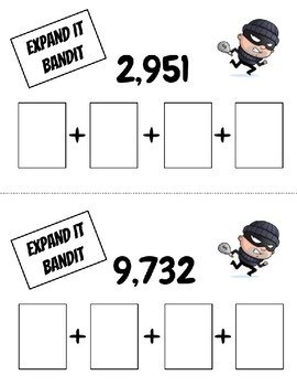 """Expanded Form Math Game - """"Expand It Bandit"""""""
