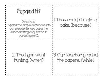 Expand It! (Complex Sentences)