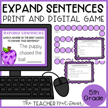 Expand Sentences Game | Expand Sentences Center | Expand Centers Activities