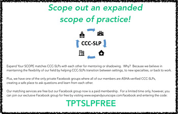 Expand Your SCOPE - Coupon Code for Exclusive CCC-SLP-only Facebook Group