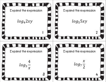 Logarithms - Expand and Condense Task Cards